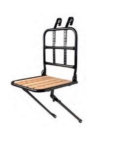 Portapacchi anteriore da trasporto regolabile in acciaio con base in legno
